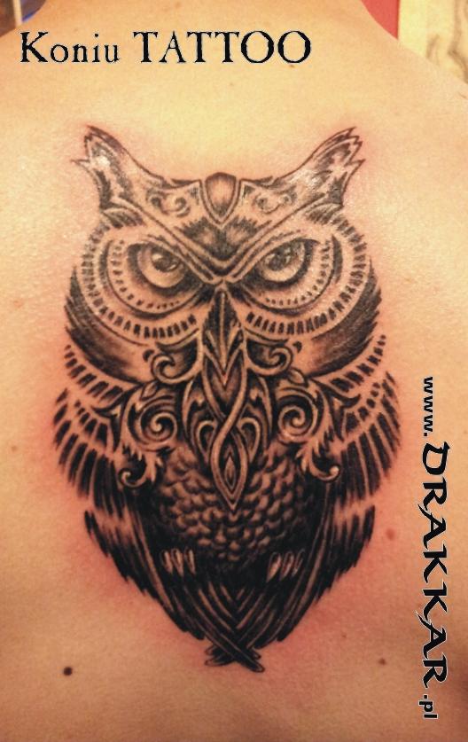motywa puchacza, tatuaż studia Drakkar, Gliwice