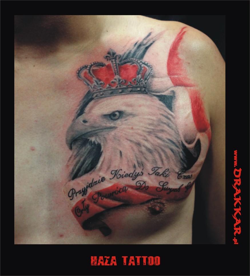 orzeł Polski, tatuaż studia Drakkar z Tarnowskich Gór