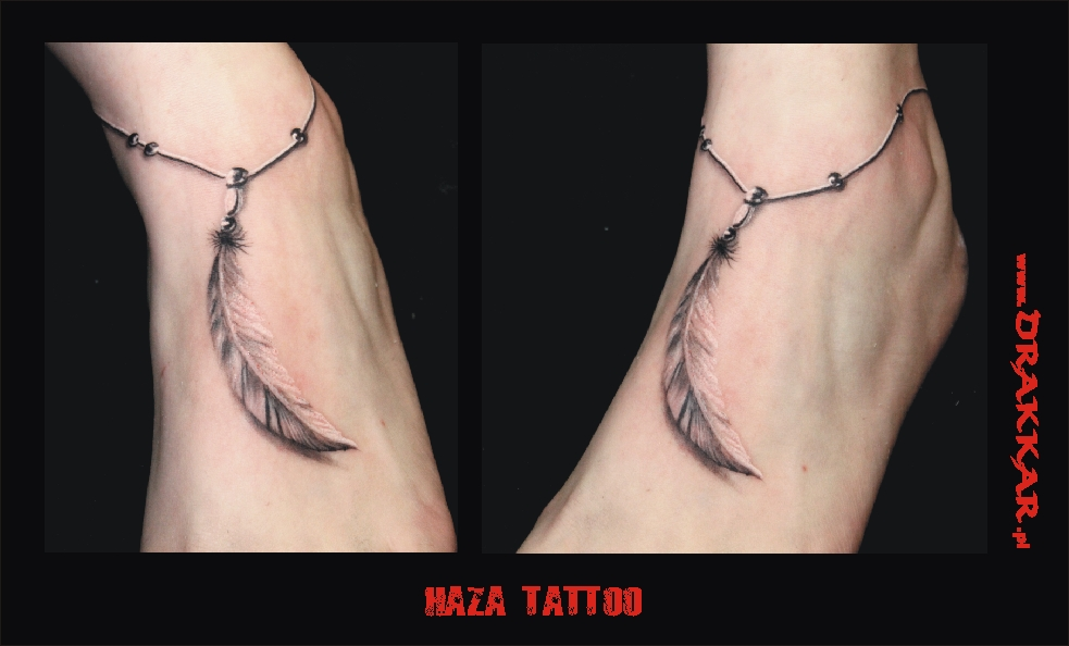 tatuaż z motywem pióra - studio tatuażu z Tarnowskich Gór